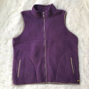 Life is good purple Sherpa vest Sz Large NWOT